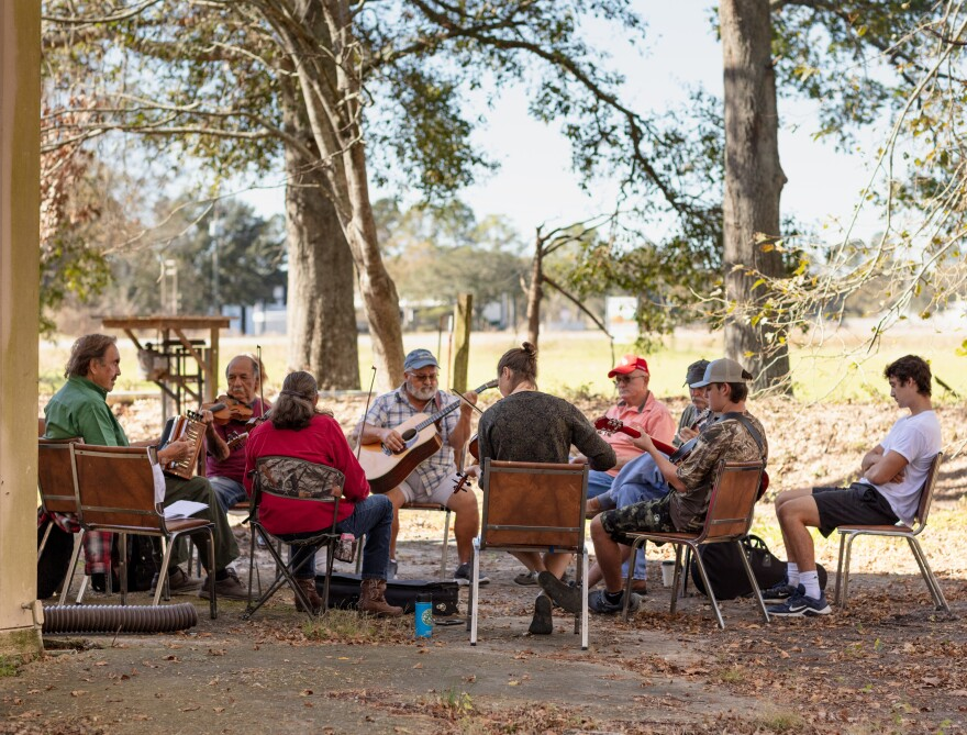 Musicians gather for the Saturday morning jam session at the Savoy Music Center in Eunice, La.