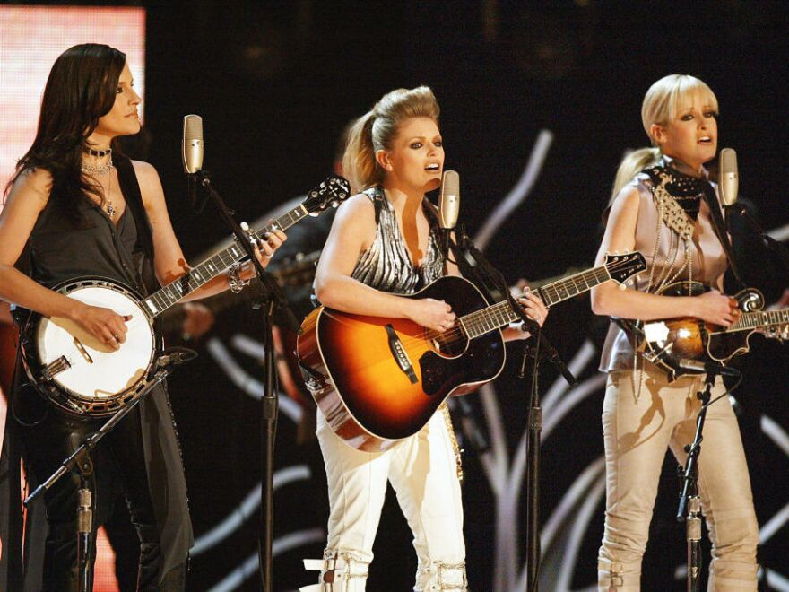 Members of the Dixie Chicks — now known simply as The Chicks — perform at the Grammy Awards in New York in 2003.