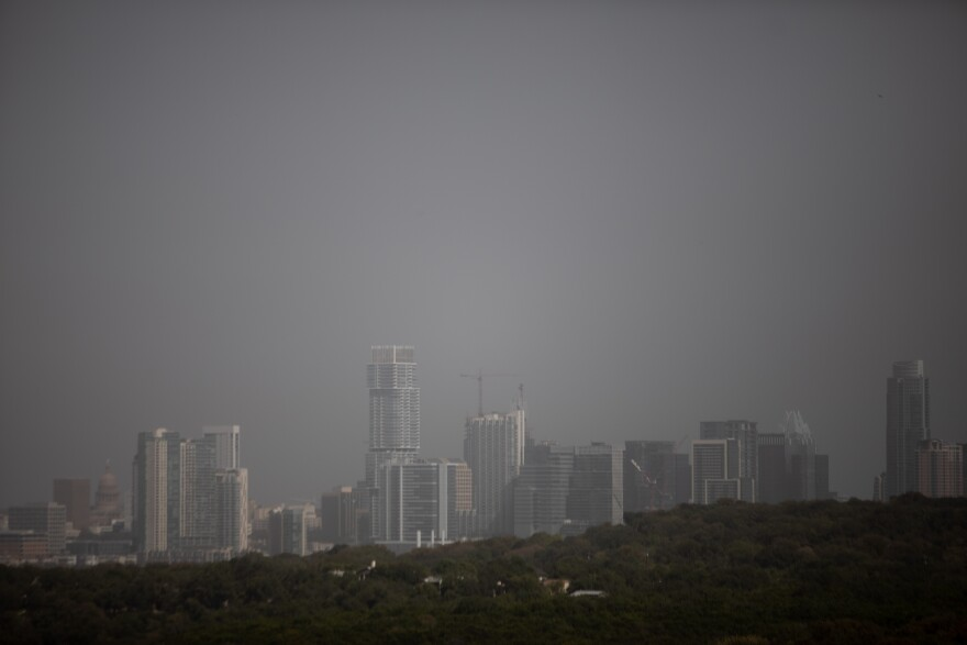 The Austin skyline on a hazy day in October.