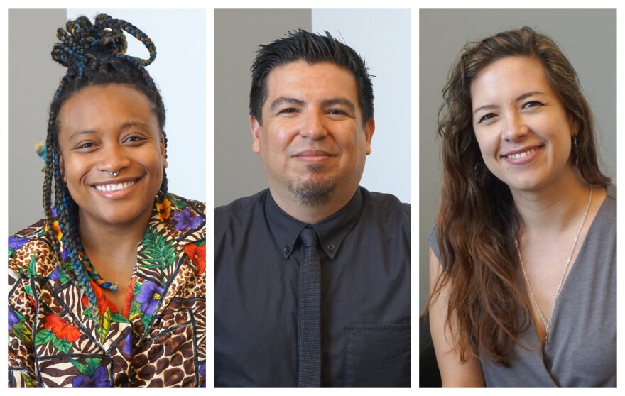 """(May 16, 2019) (L-R) Katherine Simóne Reynolds, José Guadalupe Garza and Miriam Ruiz talked about the Luminary Arts Center's """"Counterpublic"""" exhibit on Wednesday's """"St. Louis on the Air."""""""