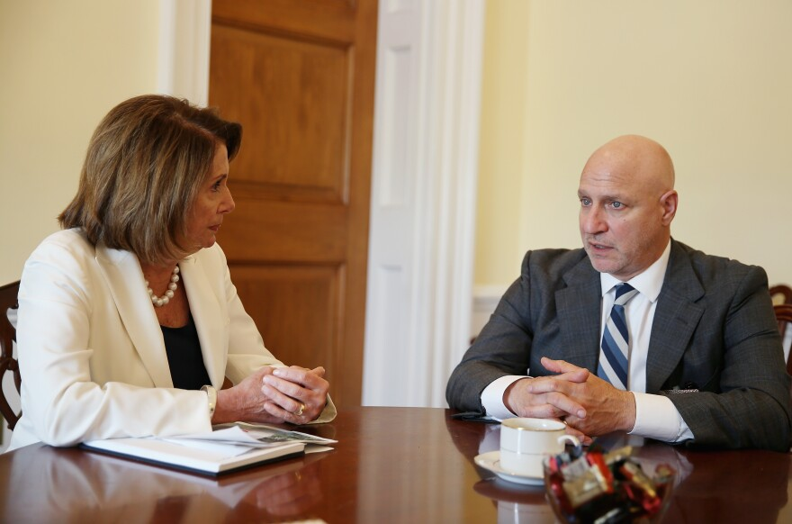 House Minority Leader Nancy Pelosi and celebrity chef Tom Colicchio discuss the farm bill as part of the Plate of the Union campaign on Thursday in Washington, D.C.