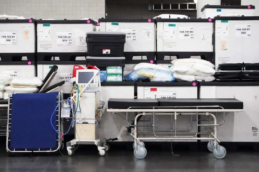 Medical supplies are viewed inside the Javits Center in March in New York City. The Javits field hospital treated about 1,100 patients while it was open for three weeks.