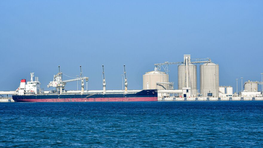 An oil tanker sits at the port of Ras al-Khair in Saudi Arabia in December. The world is approaching the limits of its capacity to store and ship oil, thanks to an unprecedented glut.