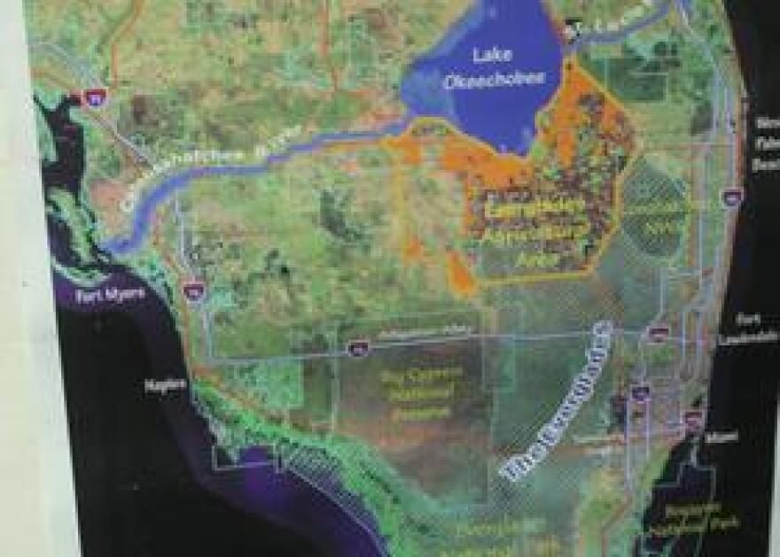 A map of the area conservationists are working to increase water flows for the Everglades. (2013)