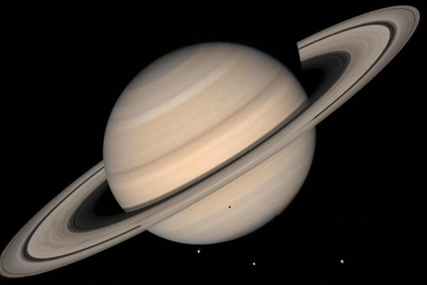 This NASA file image shows a true color photo of Saturn assembled from images collected by Voyager 2.
