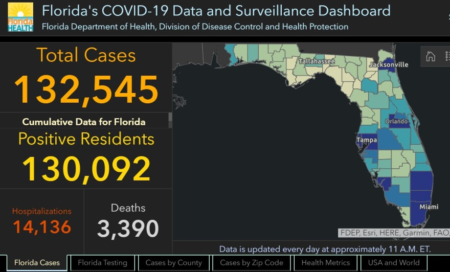 a screenshot of the DOH dashboard showing 132,545 cases and a map of Florida