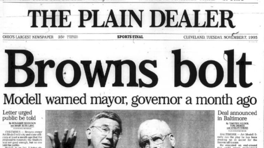 A photo of the front page of The Plain Dealer on November 7, 1995.