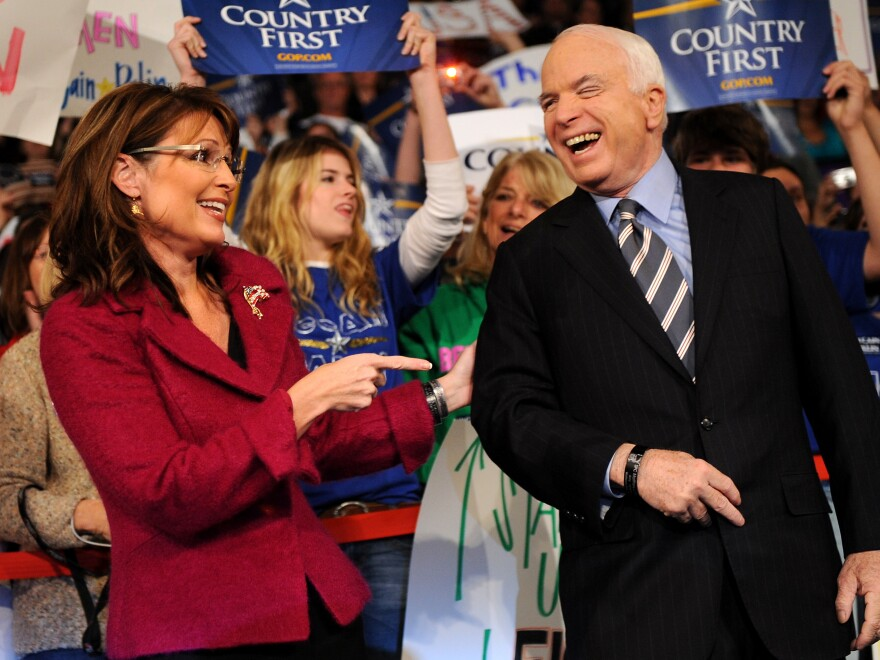 Republican presidential candidate John McCain and vice presidential candidate Sarah Palin at a campaign rally in Hershey, Pa., on Oct. 28, 2008.