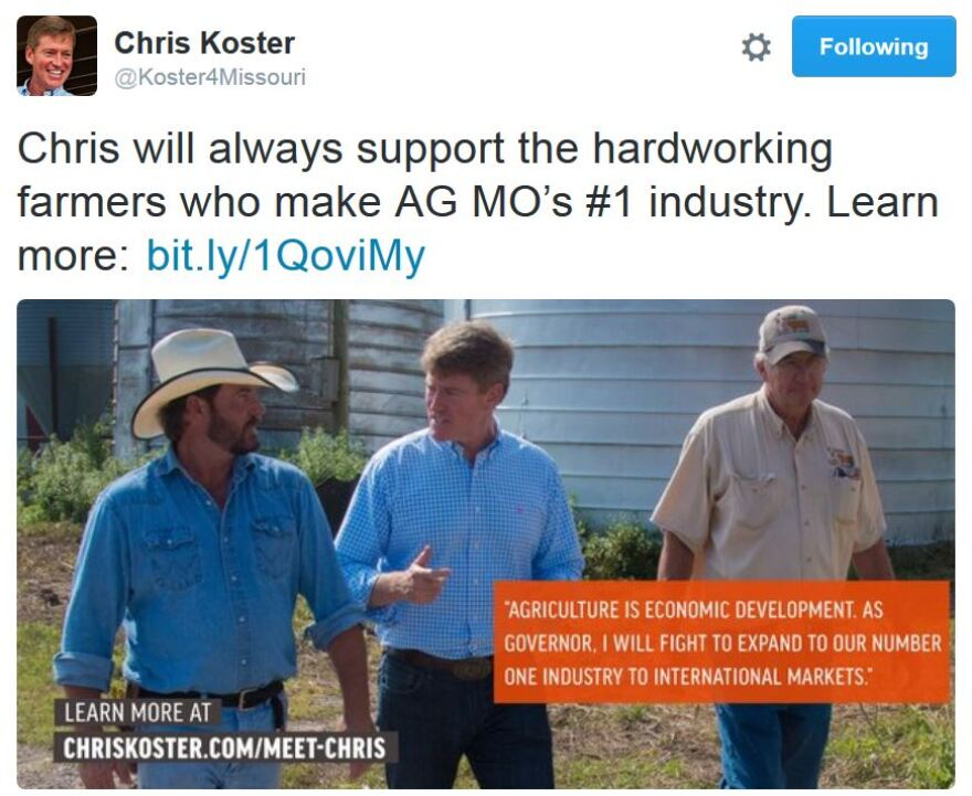 A tweet from Democratic gubernatorial contender Chris Koster Feb 11 2016