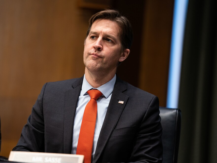 Sen. Ben Sasse, R-Neb., is one of seven Republicans to vote to convict former President Donald Trump during the impeachment trial that ended over the weekend. He is seen above during a Senate Finance Committee hearing for then-Treasury Secretary-nominee Janet Yellen in January.