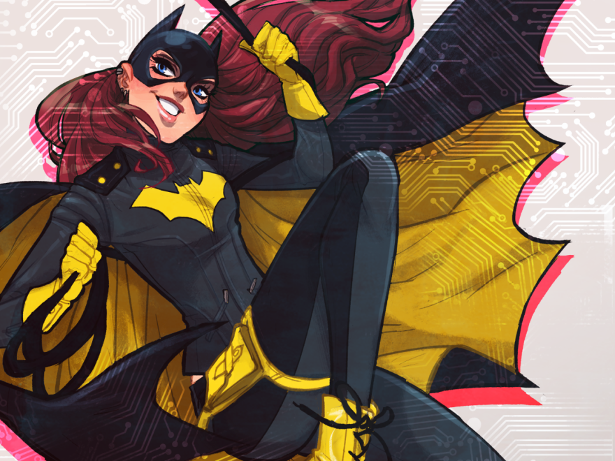 Batgirl's new look: motorcycle jacket, a practical detachable cape and Doc Martens.