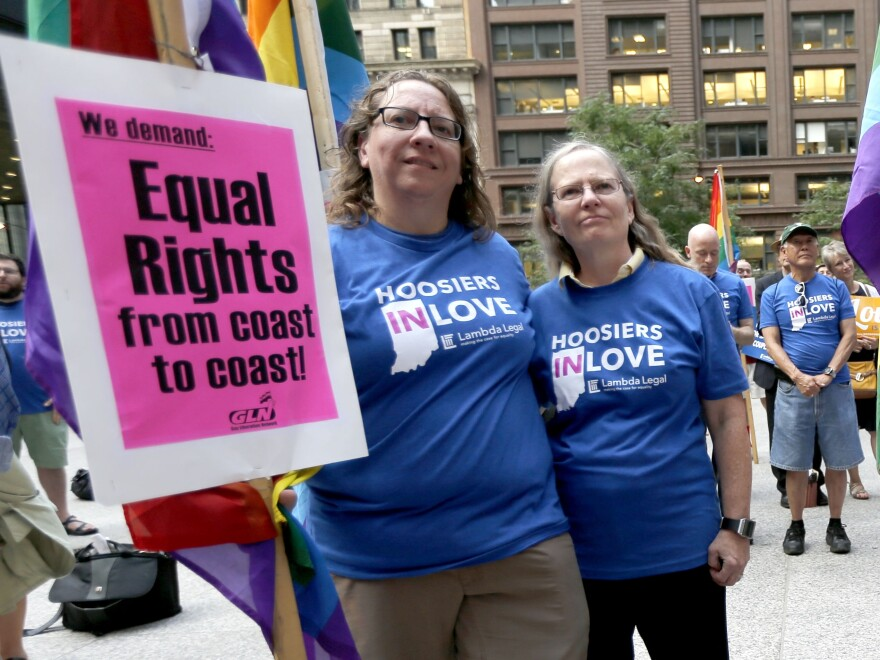 Supporters of gay marriage attend a rally at the federal plaza in Chicago on Aug. 25.