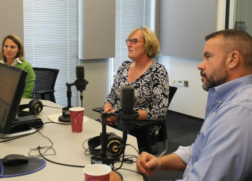 Left to right. Jessica Liss, Michelle Smith and A.J. Bockelman talked with St. Louis on the Air host Don Marsh about transgender issues this past Thursday.