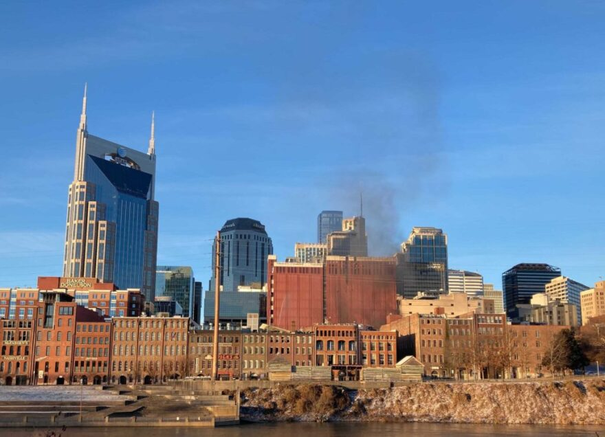 Smoke rises from downtown Nashville