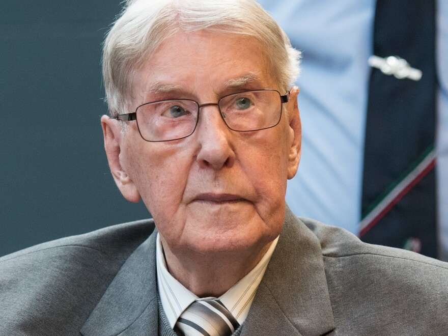 Former Auschwitz guard Reinhold Hanning on the last day of his trial for being an accessory to the murder of 170,000 people at the camp in Nazi-occupied Poland. The 94-year-old was found guilty.