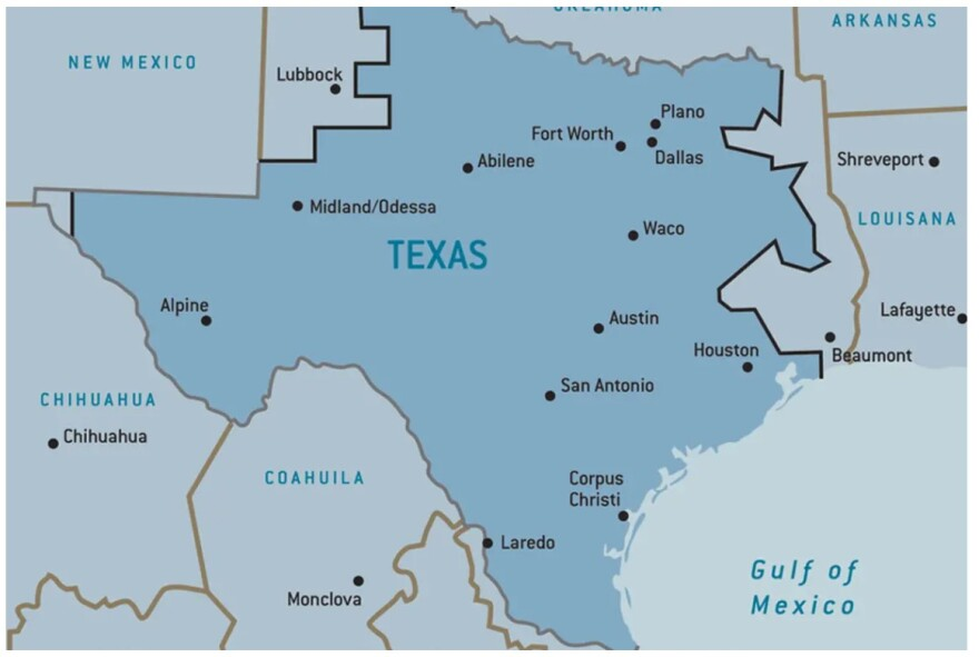 A map of the ERCOT power grid in Texas.