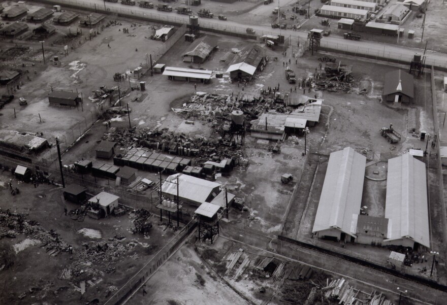Aerial shot showing destruction at Long Binh Jail after the August 1968 riot.
