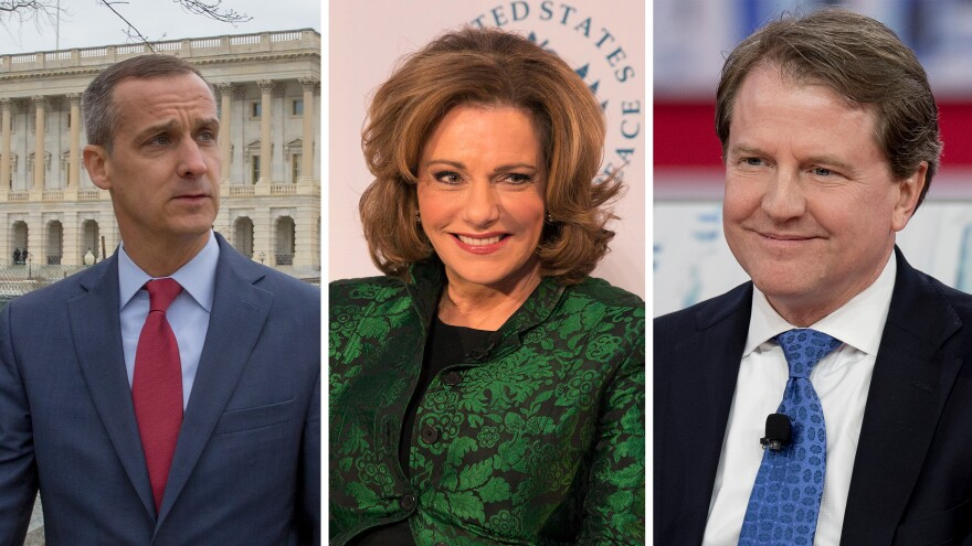 "Former Trump campaign manager Corey Lewandowski (left), former deputy national security adviser designate Kathleen Troia ""K.T."" McFarland and former White House counsel Don McGahn were named in Robert Mueller's report as people who did not carry out President Trump's asks."