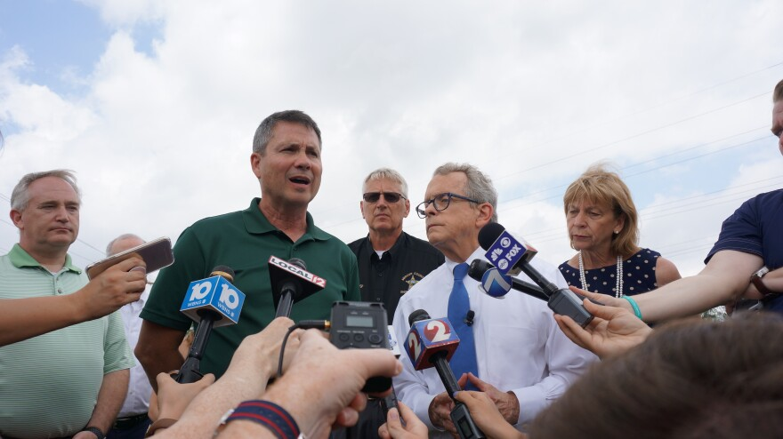 Celina Mayor Jeffrey Hazel, Governor Mike DeWine and Ohio First Lady address the media the morning after an EF3 tornado killed one resident and left 40 with uninhabitable homes.