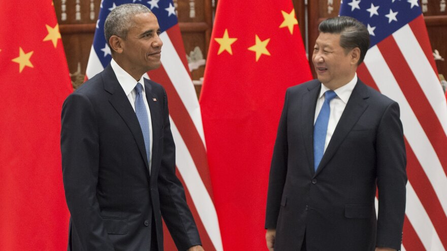 """""""That's part of our job,"""" President Barack Obama said of any tensions in his visit to China. Here, Obama and President Xi Jinping attend a meeting at the West Lake State House in Hangzhou, where world leaders are gathering for the G-20 Leaders Summit."""