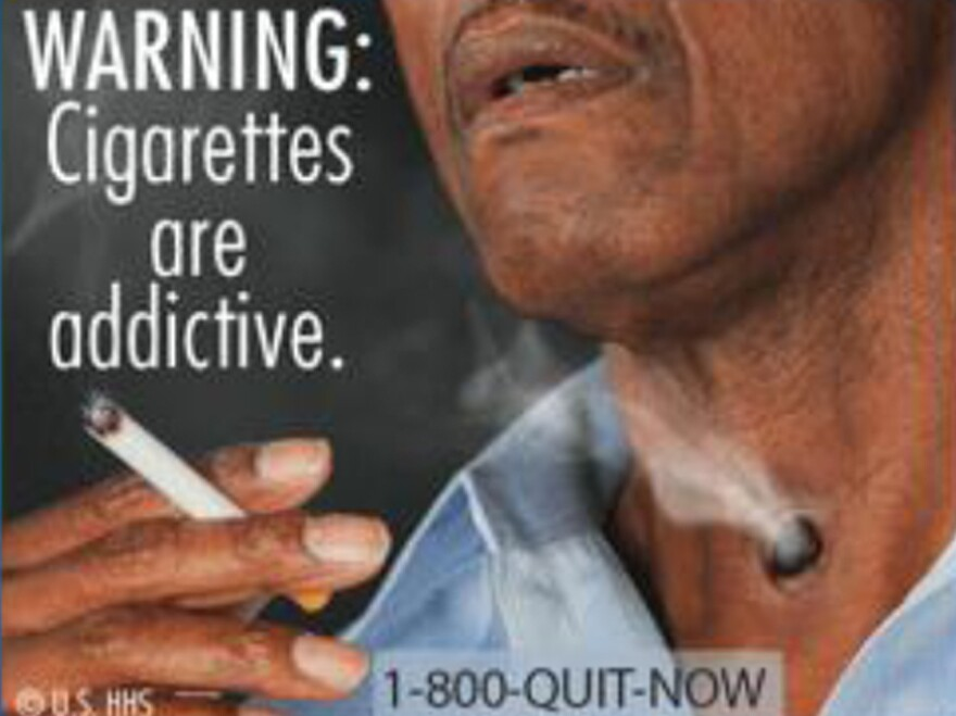 A cigarette warning label image approved by the Food and Drug Administration.