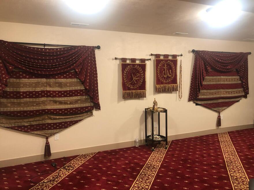 Photo of the the mosque the family set up in their basement