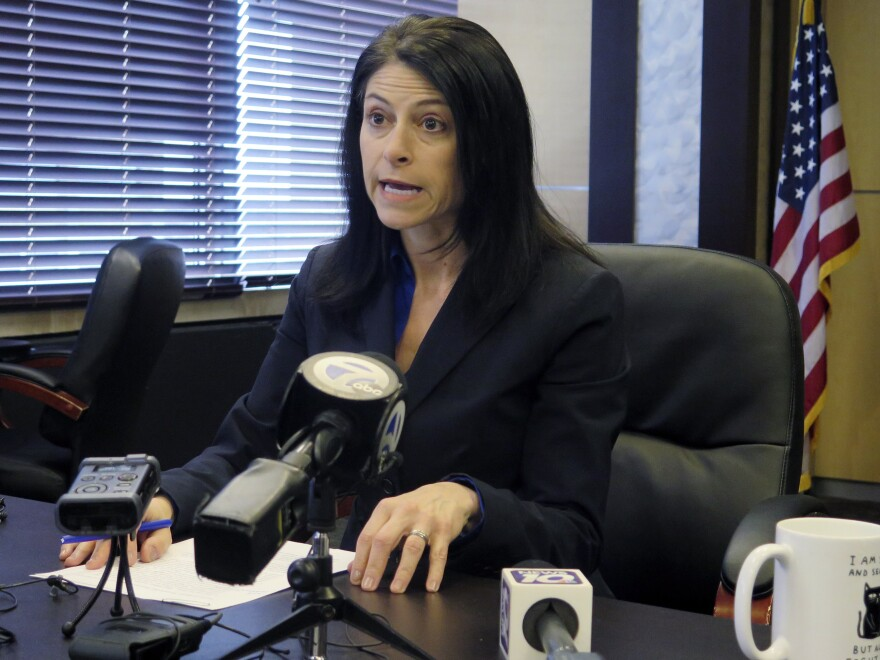 Michigan Attorney General Dana Nessel announced Tuesday her office is investigating threats against members of the Wayne County Board of Canvassers. Nessel seen above in March during a news conference in Lansing, Mich.