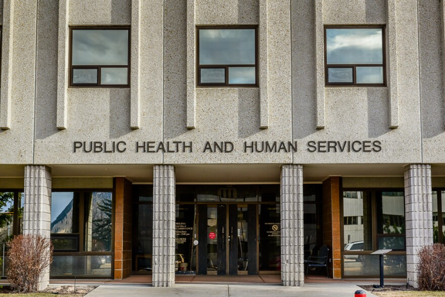 The entrance to the Montana Department of Public Health and Human Service building in Helena.