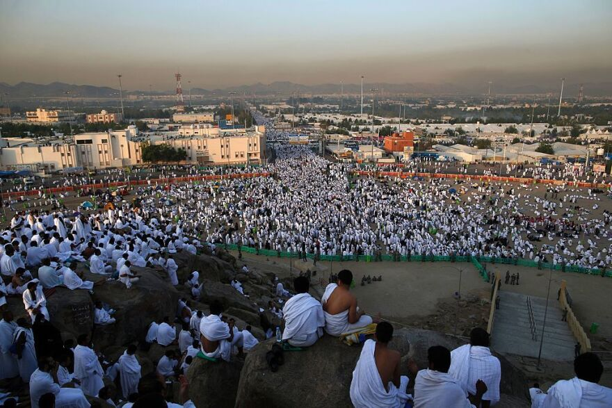 Muslim pilgrims arrive at Mount Arafat, where the Prophet Muhammad is believed to have given his final sermon.