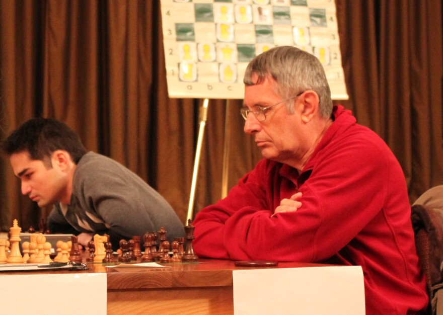 Jim Davies (right) is the first-ever inductee into the Missouri Chess Hall of Fame.