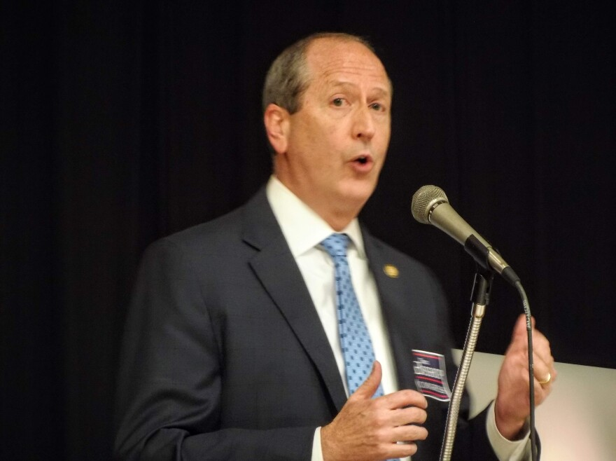 Dan Bishop speaks during a Republican 9th Congressional District forum in 2019.