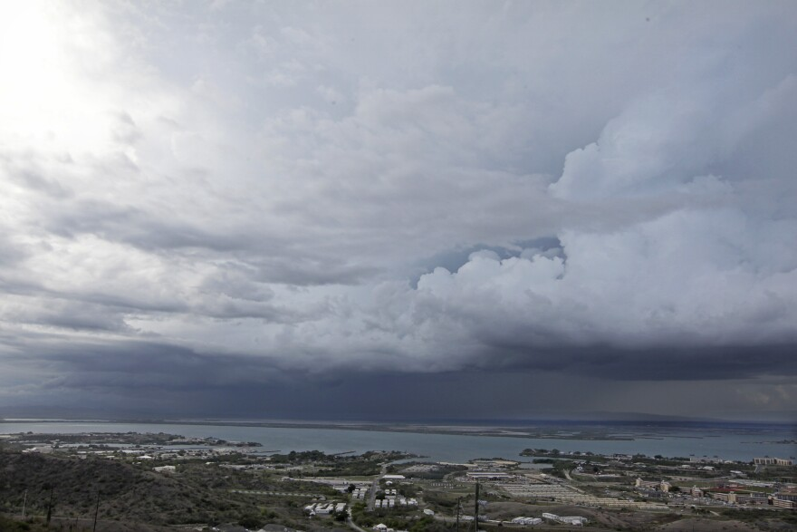 Clouds cover the sky over Guantanamo Bay, Cuba.