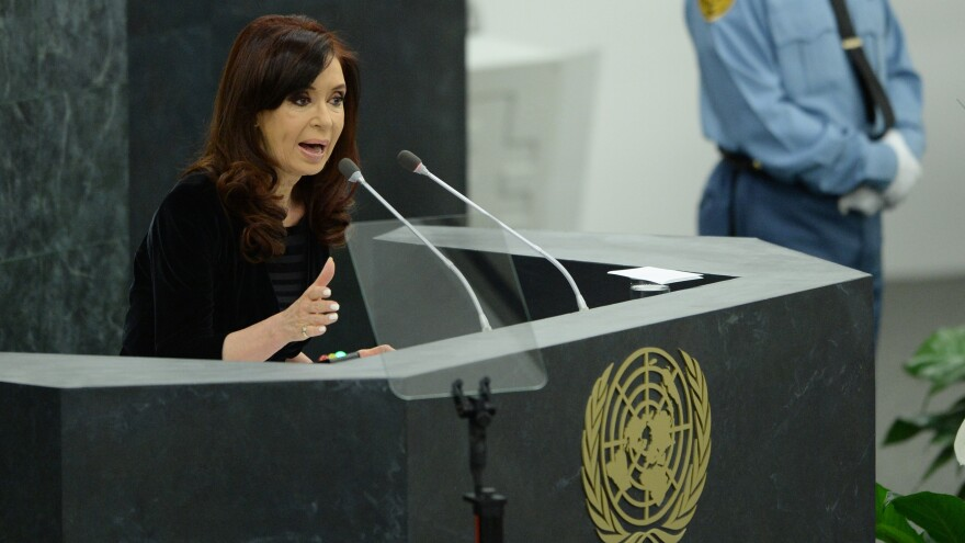Argentina's President Cristina Fernandez de Kirchner will undergo surgery to relieve a hematoma on her brain Tuesday. She is seen here last month, at the U.N. General Assembly.