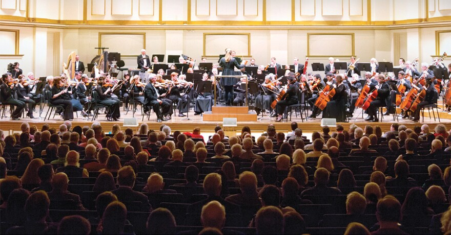 Gemma New conducts the St. Louis Symphony Orchestra in Pines of Rome in March 2018.
