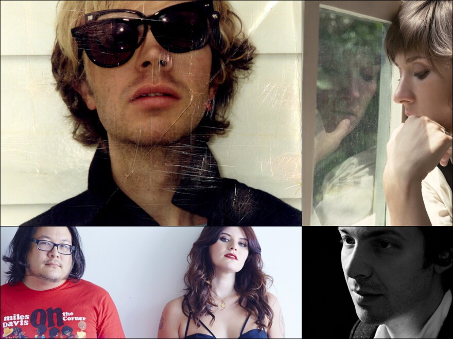 Clockwise from upper left: Beck, Cate Le Bon, Arp's Alexis Georgopoulos, Best Coast