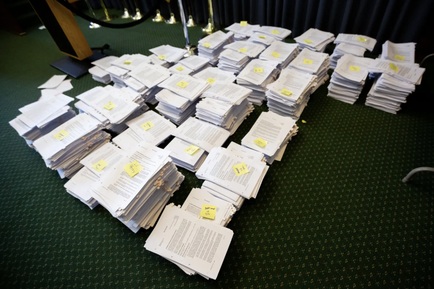 Stacks of legislation to be considered by Texas lawmakers in 2019.