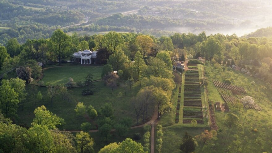 An aerial view of Monticello shows Mulberry Row to the right of Thomas Jefferson's house.