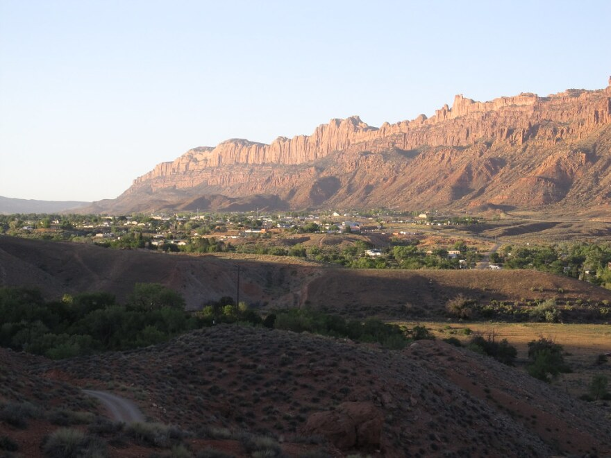 A photo of Moab Rim  from Sand Flats Road.
