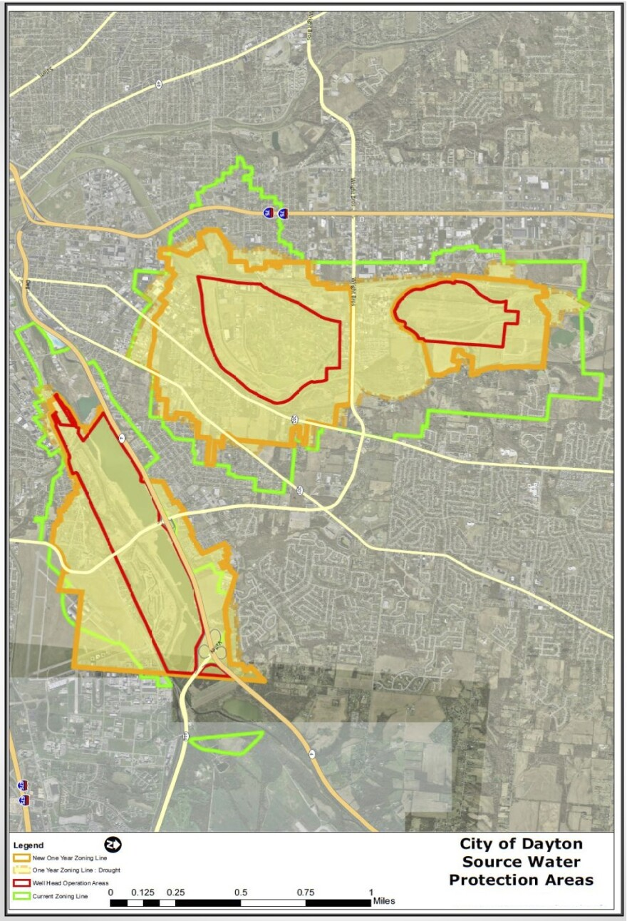 An image of the revised source water protection policy map for the city of Dayton's wellfields.