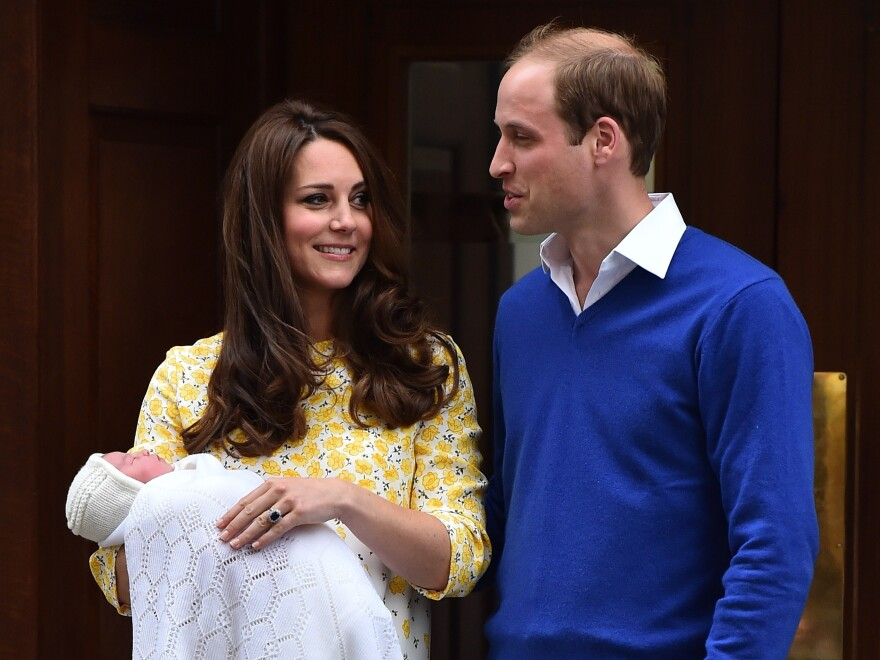 Prince William and his wife, Catherine, who is the duchess of Cambridge show their newly-born daughter to the media outside the Lindo Wing at St. Mary's Hospital in central London on Saturday.