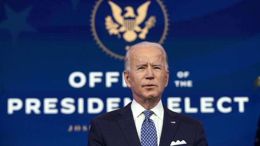 President-elect Joe Biden delivers remarks Tuesday in Delaware.