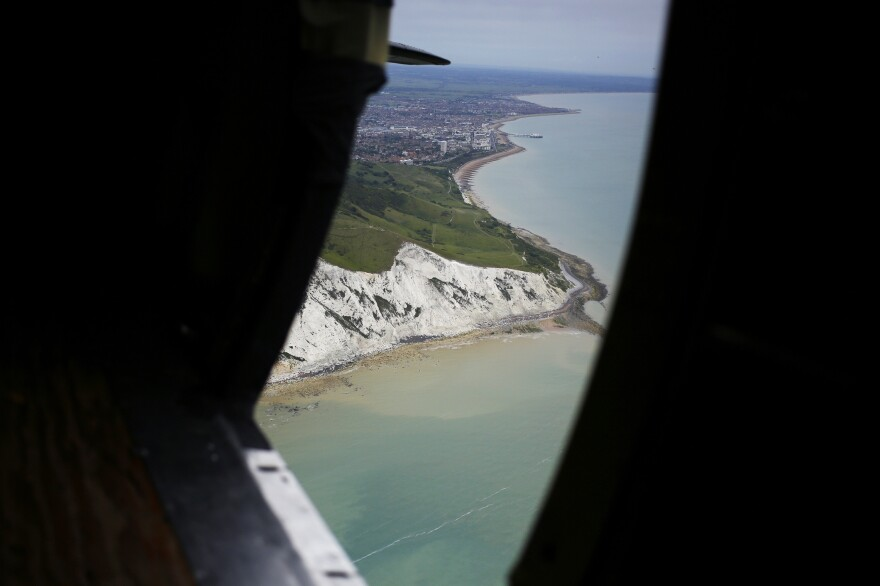 The English Channel is seen from the door of Placid Lassie during a cross-channel passage to Normandy on Wednesday.