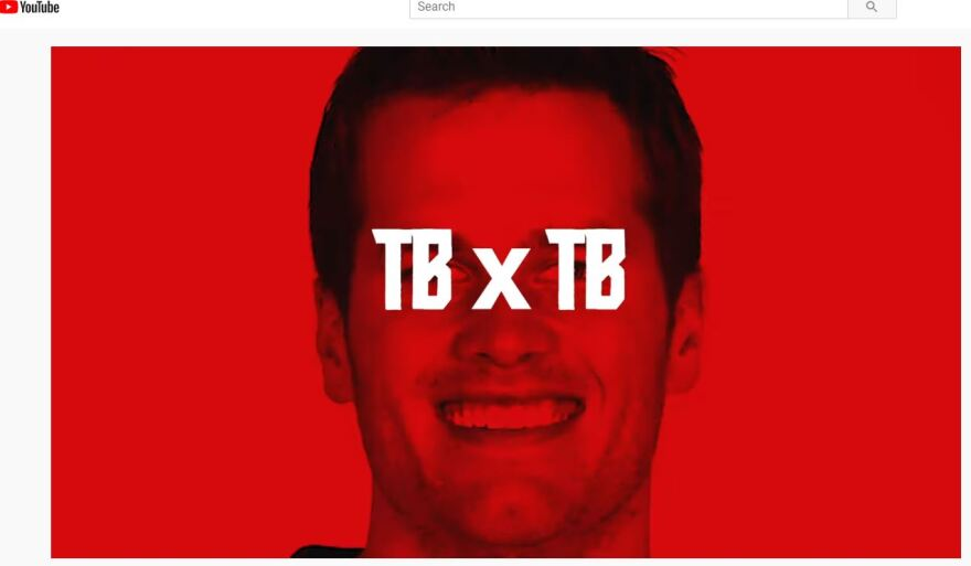 Brady appears with a TB x TB over his face signifying his move to the Tampa Bay area.