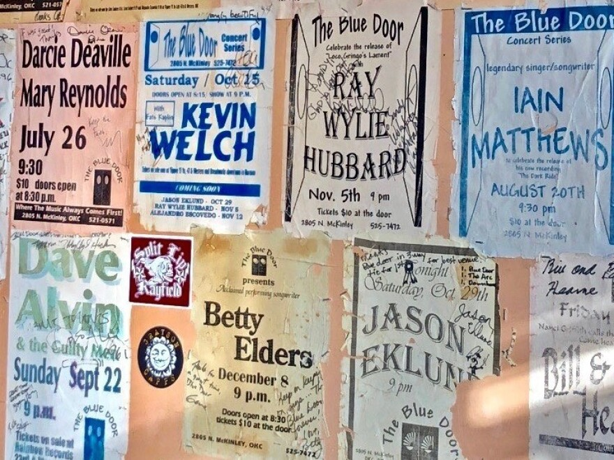 A wall of concert posters at the Blue Door in Oklahoma City.