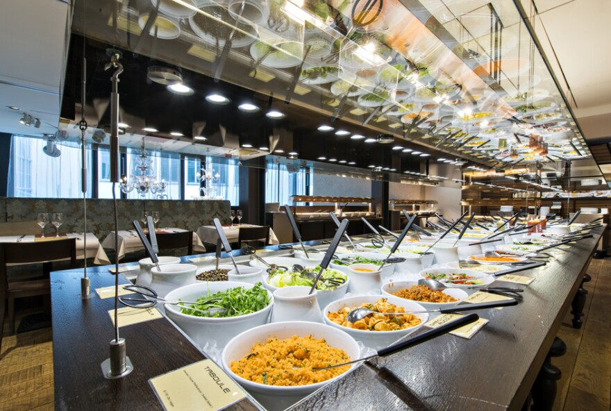 Today, Hiltl features more than 100 items on its vast buffet and covers three floors, with seating for 500.