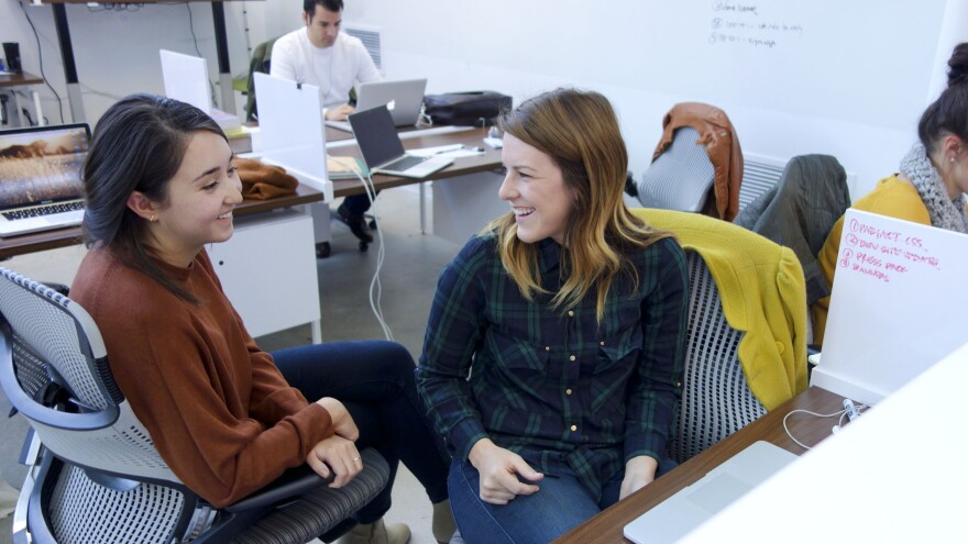 Co-workers at Denver's Galvanize, a tech hub in Colorado's capital.