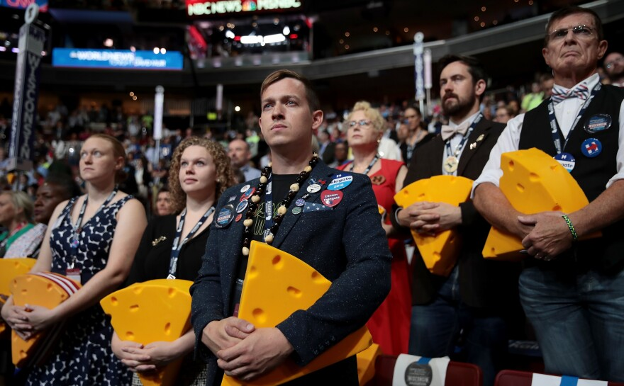 Wisconsin delegates are seen during Democratic National Convention in Philadelphia in July 2016, where Hillary Clinton won the Democratic Party nomination for president.
