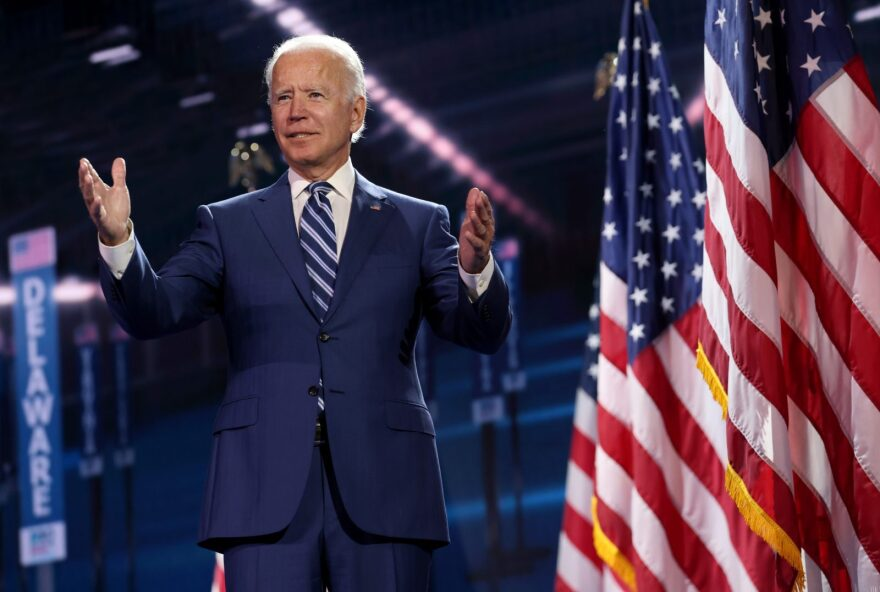 Democratic presidential nominee Joe Biden appears on stage after Democratic vice presidential nominee U.S. Sen. Kamala Harris (D-CA) spoke on the third night of the Democratic National Convention from the Chase Center in Wilmington, Delaware.