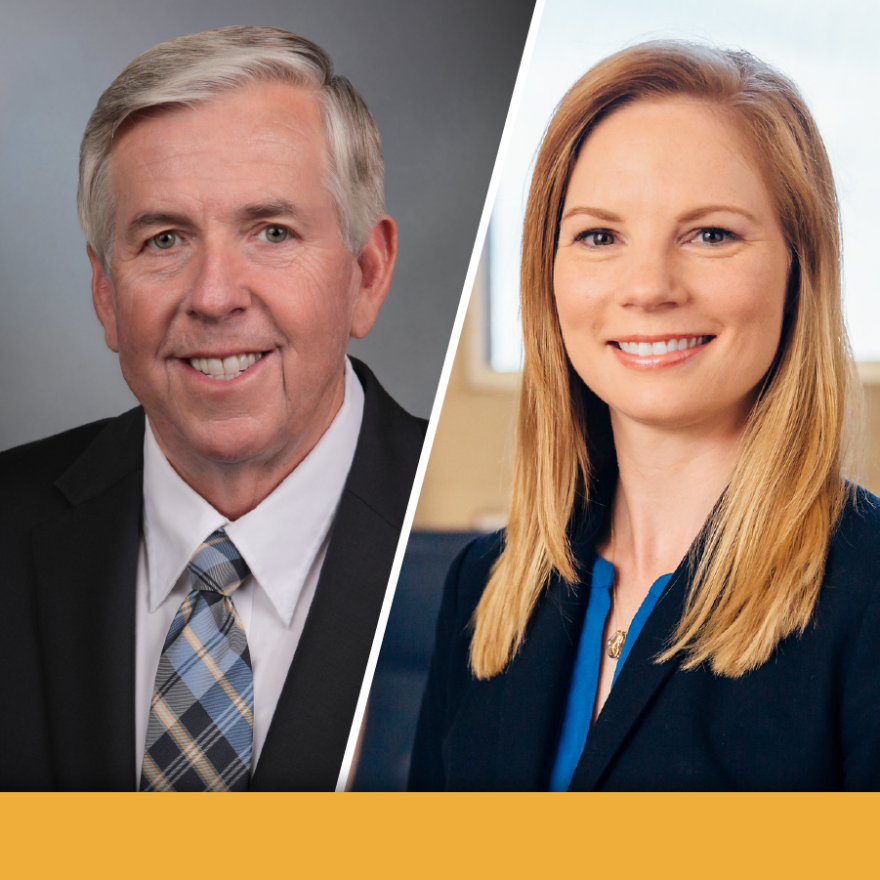A composite image of Missouri Gov. Mike Parson and Auditor Nicole Galloway.