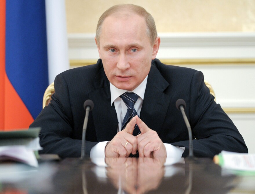 Russia's Prime Minister Vladimir Putin speaks during a Government Presidium meeting in Moscow on Jan. 12.